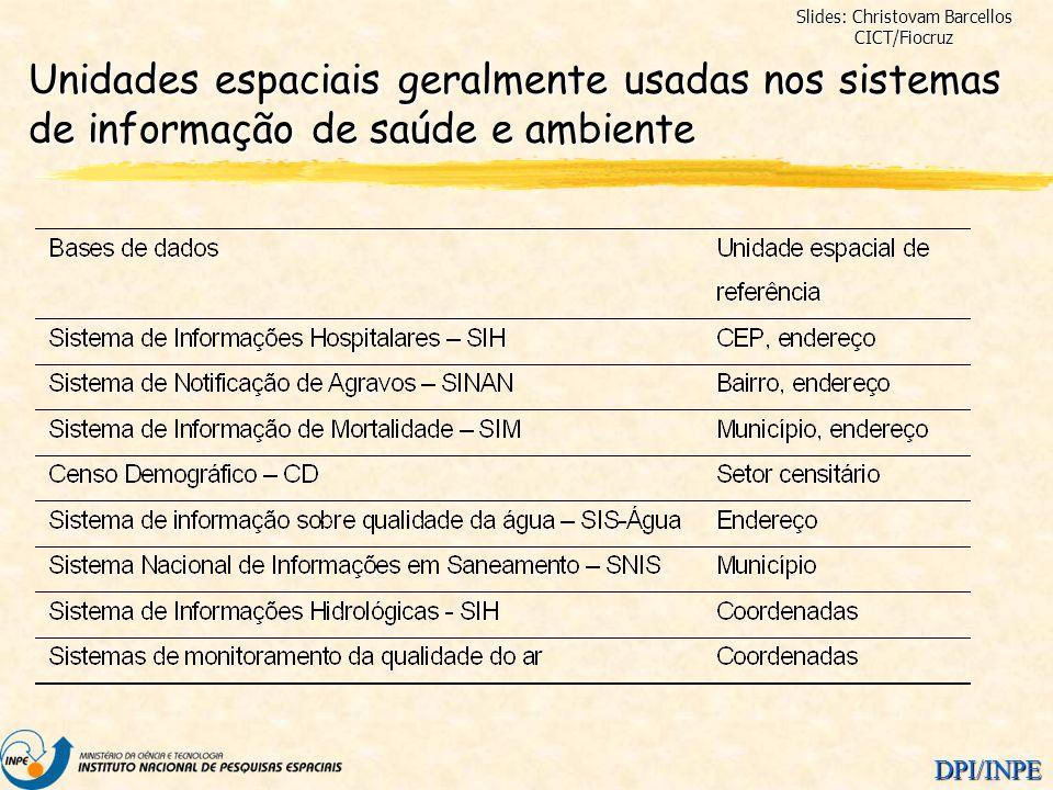 DPI/INPE Unidades espaciais geralmente usadas nos sistemas de informação de saúde e ambiente Slides: Christovam Barcellos CICT/Fiocruz