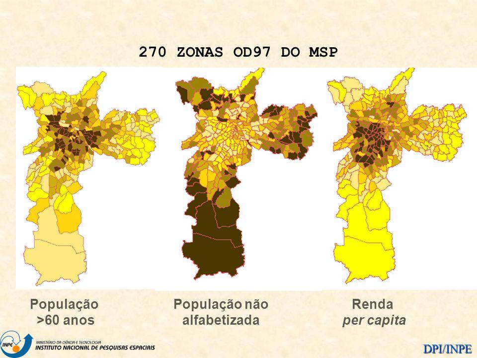 DPI/INPE População >60 anos População não alfabetizada Renda per capita 270 ZONAS OD97 DO MSP