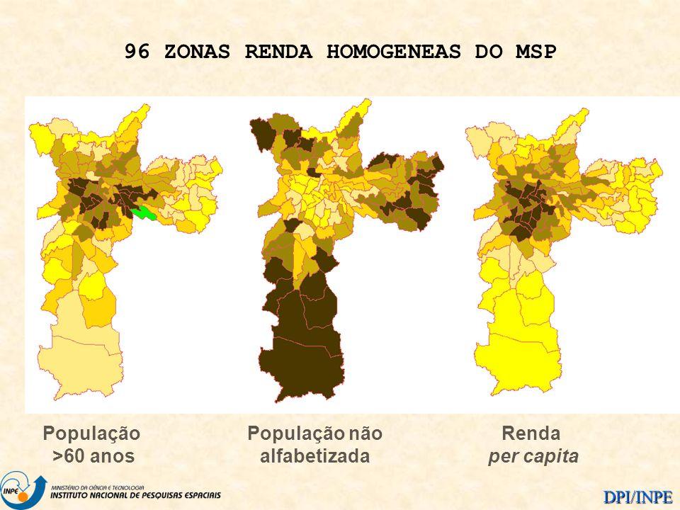 DPI/INPE População >60 anos População não alfabetizada Renda per capita 96 ZONAS RENDA HOMOGENEAS DO MSP