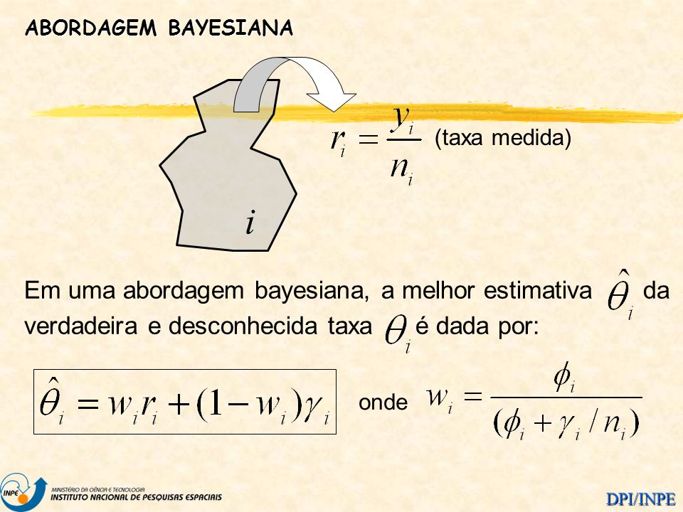 DPI/INPE ABORDAGEM BAYESIANA i (taxa medida) Em uma abordagem bayesiana, a melhor estimativa da verdadeira e desconhecida taxa é dada por: onde