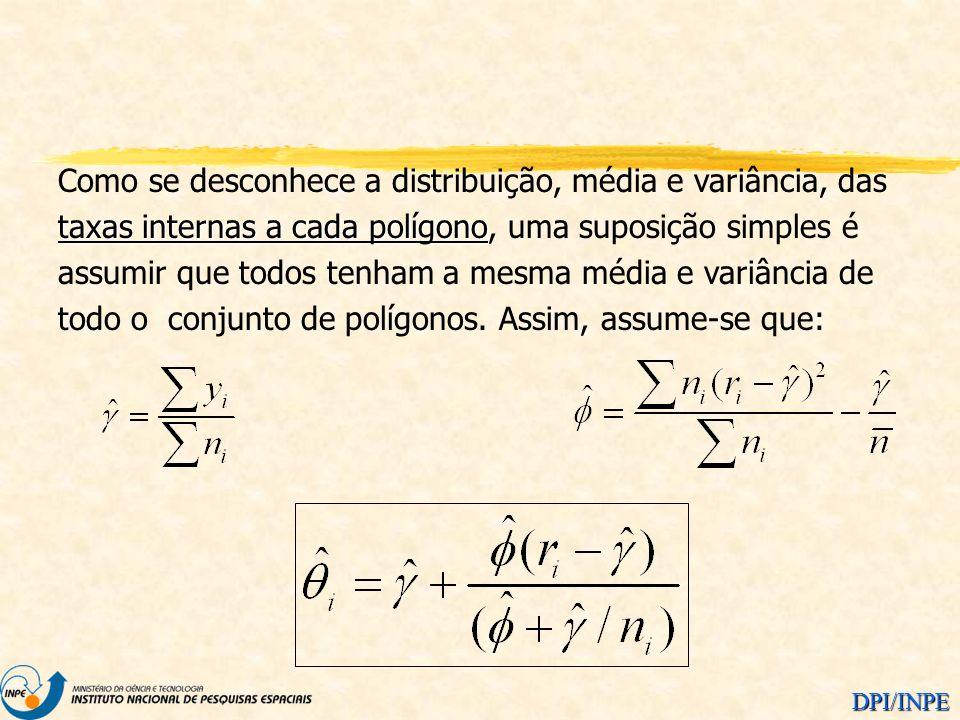 DPI/INPE taxas internas a cada polígono Como se desconhece a distribuição, média e variância, das taxas internas a cada polígono, uma suposição simple