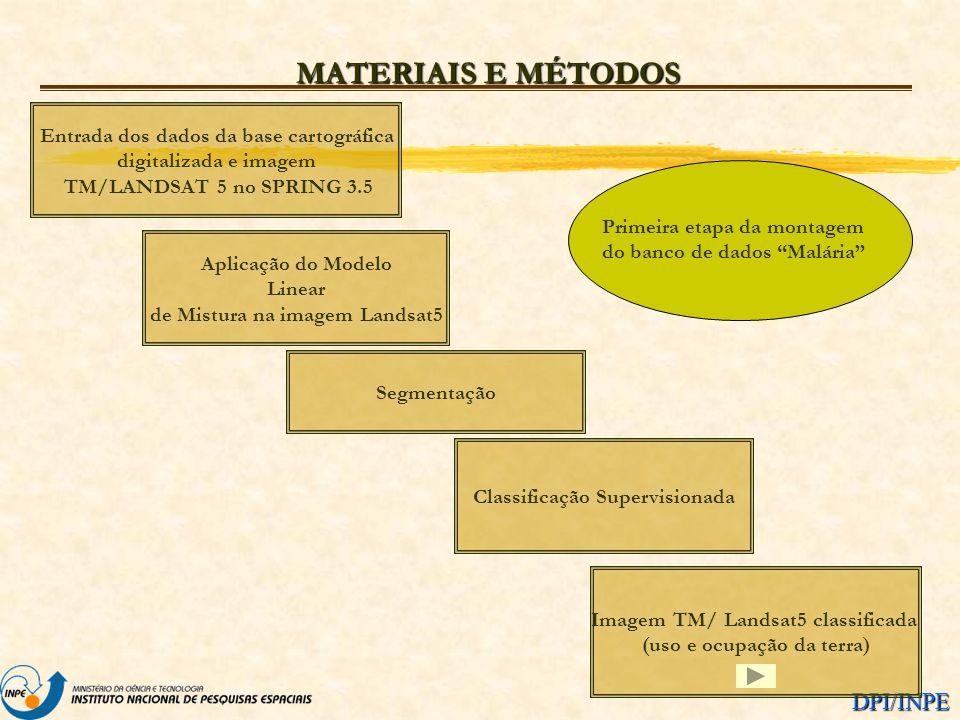 DPI/INPE MATERIAIS E MÉTODOS Entrada dos dados da base cartográfica digitalizada e imagem TM/LANDSAT 5 no SPRING 3.5 Aplicação do Modelo Linear de Mis