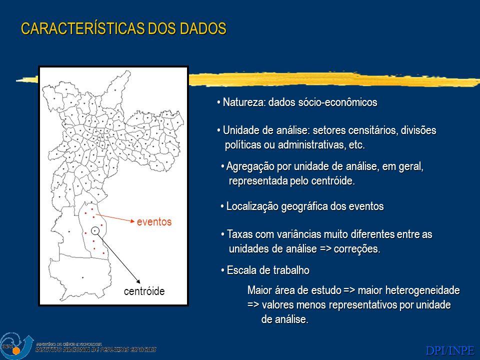 DPI/INPE CARACTERÍSTICAS DOS DADOS Localização geográfica dos eventos Localização geográfica dos eventos Unidade de análise: setores censitários, divi