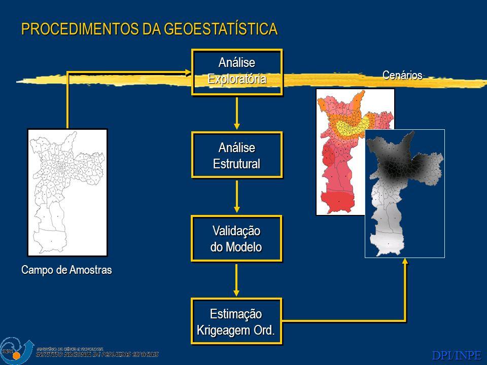 DPI/INPE PROCEDIMENTOS DA GEOESTATÍSTICA AnáliseExploratória AnáliseEstrutural Estimação Krigeagem Ord. Validação do Modelo Campo de Amostras Cenários
