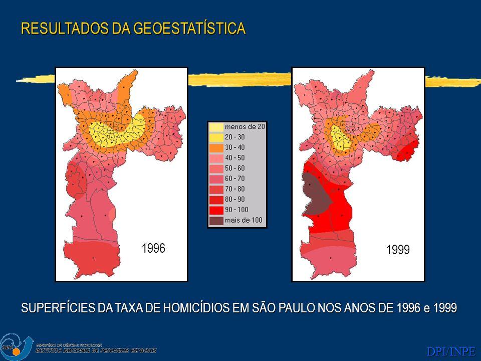 DPI/INPE 1996 1999 RESULTADOS DA GEOESTATÍSTICA SUPERFÍCIES DA TAXA DE HOMICÍDIOS EM SÃO PAULO NOS ANOS DE 1996 e 1999