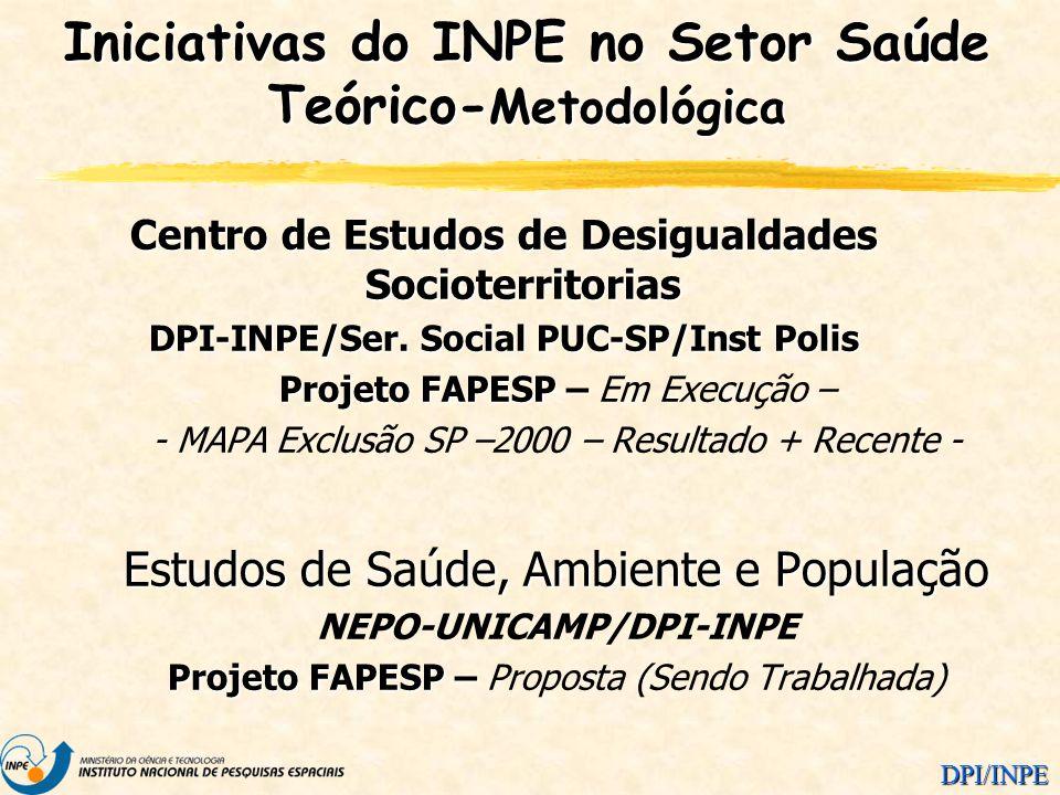 DPI/INPE Centro de Estudos de Desigualdades Socioterritorias DPI-INPE/Ser. Social PUC-SP/Inst Polis Projeto FAPESP – Projeto FAPESP – Em Execução – -