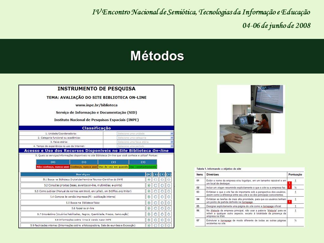 IV Encontro Nacional de Semiótica, Tecnologias da Informação e Educação 04-06 de junho de 2008 Métodos