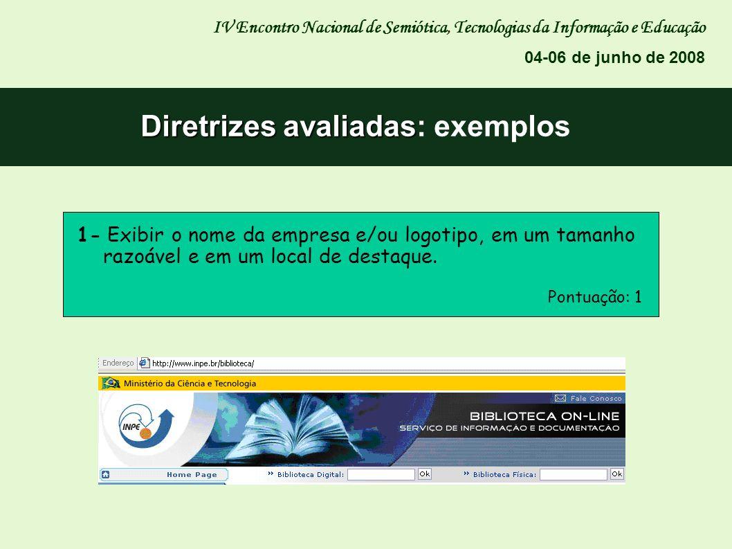 Diretrizes avaliadas Diretrizes avaliadas: exemplos IV Encontro Nacional de Semiótica, Tecnologias da Informação e Educação 04-06 de junho de 2008 1-