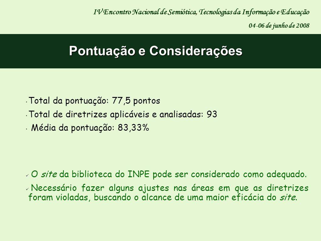 Pontuação e Considerações IV Encontro Nacional de Semiótica, Tecnologias da Informação e Educação 04-06 de junho de 2008 Total da pontuação: 77,5 pont