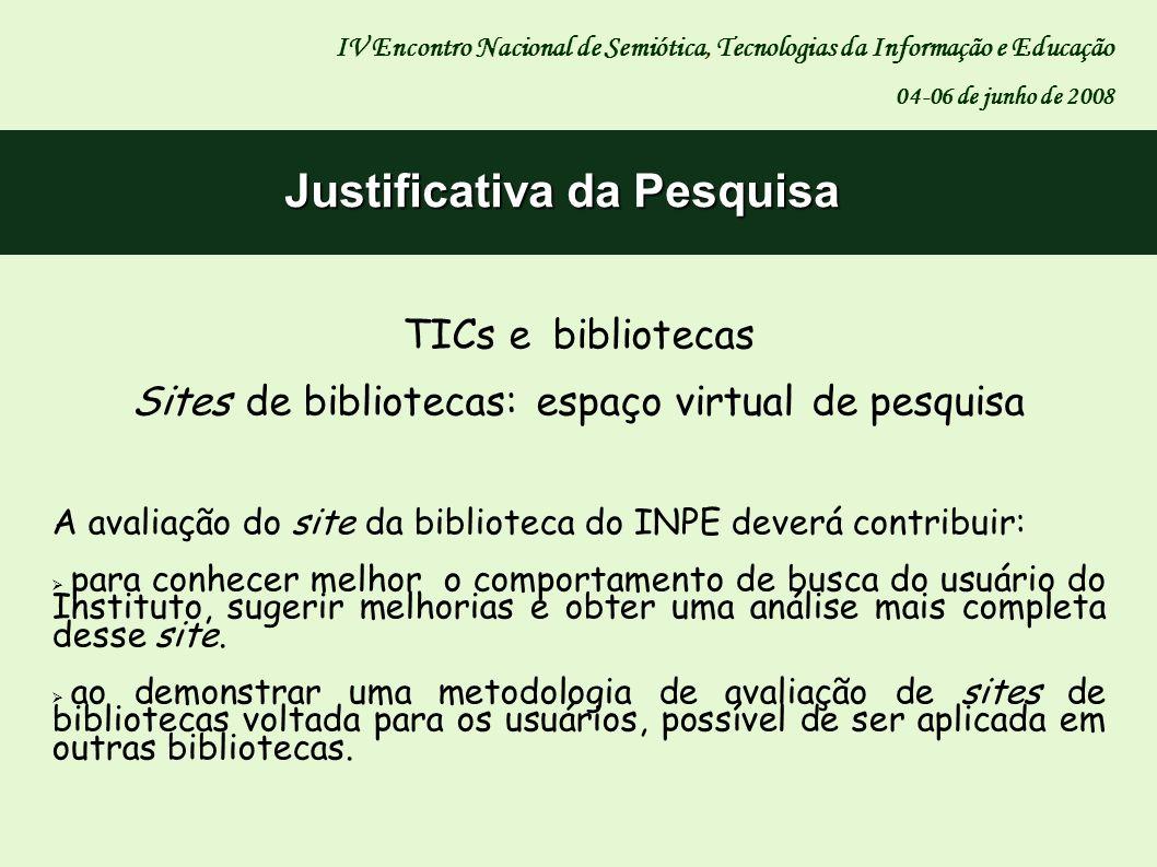 Justificativa da Pesquisa TICs e bibliotecas Sites de bibliotecas: espaço virtual de pesquisa IV Encontro Nacional de Semiótica, Tecnologias da Inform