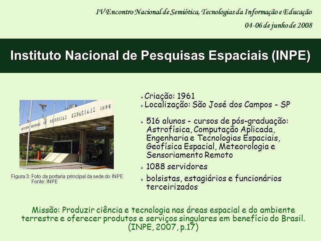 Criação: 1965 Reconhecido como um dos principais acervos na área da Ciência Espacial no Brasil Acervo: 75.500 obras (livros, mapas, relatórios e outras publicações) e 165.503 fascículos de periódicos Memória Técnico-Científica do Instituto (Biblioteca Digital: 25.394 referências; textos completos: 11.810) IV Encontro Nacional de Semiótica, Tecnologias da Informação e Educação 04-06 de junho de 2008 Serviço de Informação e Documentação (SID) Missão: Promover e tornar disponível o acesso à informação técnico- científica nas áreas de atuação do INPE em ambiente virtual, contribuindo para a geração do conhecimento.