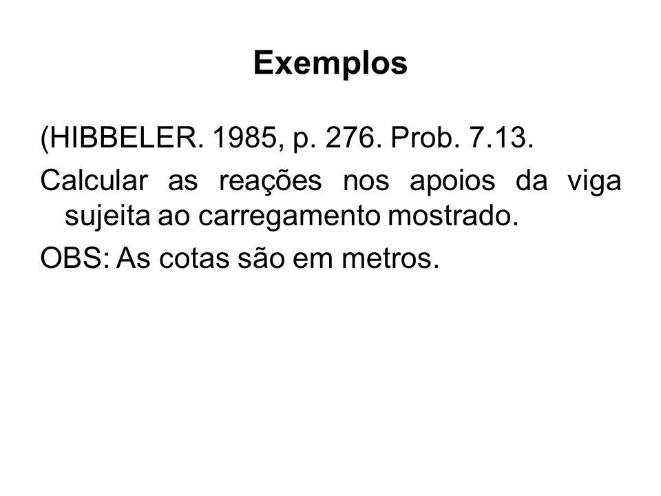 Exemplos (HIBBELER. 1985, p. 276. Prob. 7.13. Calcular as reações nos apoios da viga sujeita ao carregamento mostrado. OBS: As cotas são em metros.