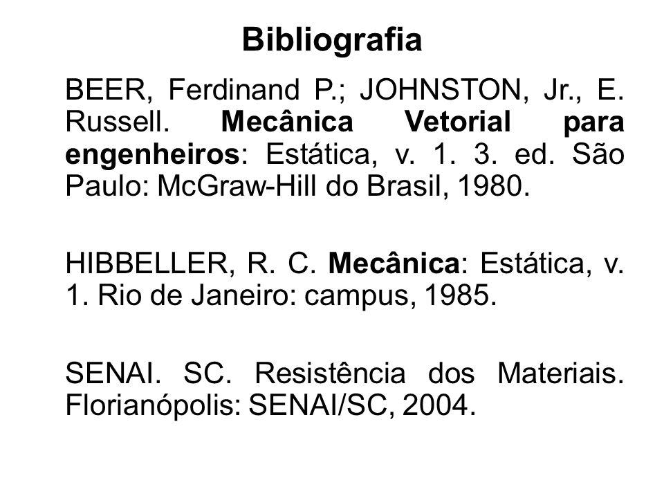 Bibliografia BEER, Ferdinand P.; JOHNSTON, Jr., E. Russell. Mecânica Vetorial para engenheiros: Estática, v. 1. 3. ed. São Paulo: McGraw-Hill do Brasi