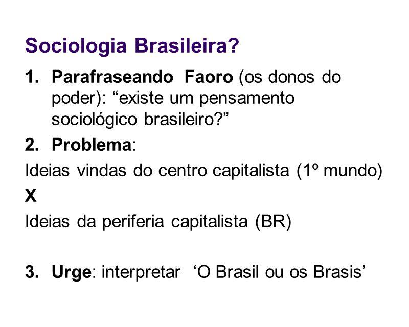 Sociologia Brasileira? 1.Parafraseando Faoro (os donos do poder): existe um pensamento sociológico brasileiro? 2.Problema: Ideias vindas do centro cap