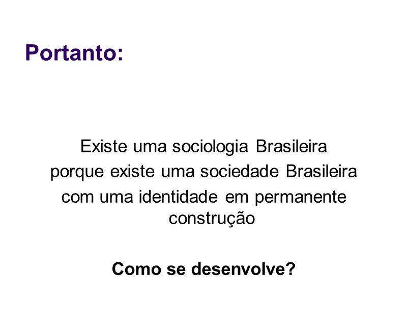 Portanto: Existe uma sociologia Brasileira porque existe uma sociedade Brasileira com uma identidade em permanente construção Como se desenvolve?