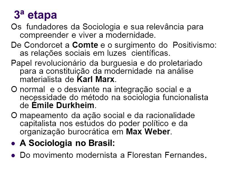 3ª etapa Os fundadores da Sociologia e sua relevância para compreender e viver a modernidade. De Condorcet a Comte e o surgimento do Positivismo: as r
