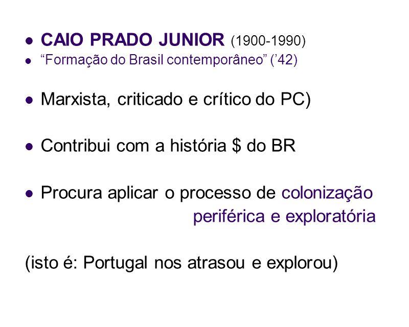 CAIO PRADO JUNIOR (1900-1990) Formação do Brasil contemporâneo (42) Marxista, criticado e crítico do PC) Contribui com a história $ do BR Procura apli