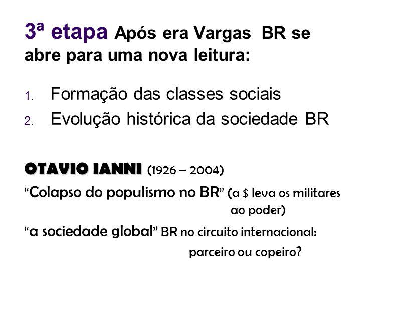 3ª etapa Após era Vargas BR se abre para uma nova leitura: 1. Formação das classes sociais 2. Evolução histórica da sociedade BR OTAVIO IANNI OTAVIO I