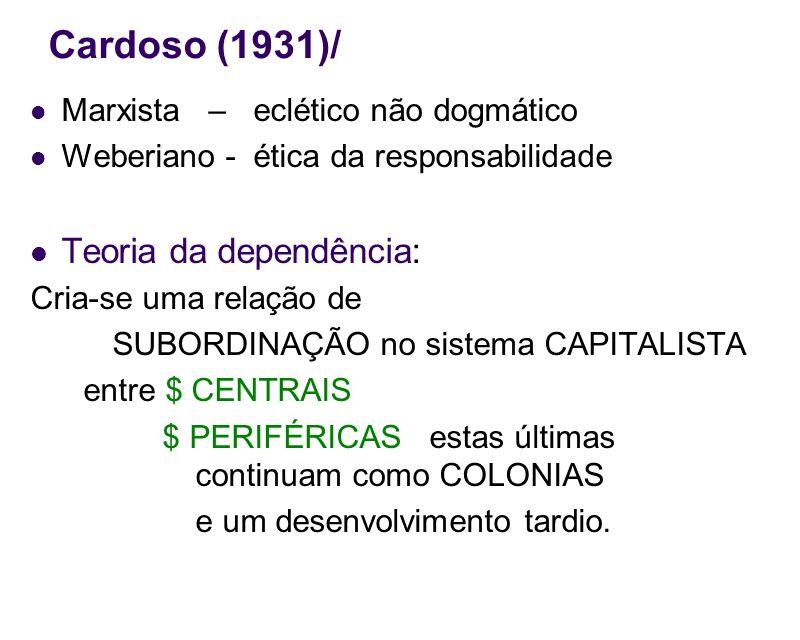 Cardoso (1931)/ Marxista – eclético não dogmático Weberiano - ética da responsabilidade Teoria da dependência: Cria-se uma relação de SUBORDINAÇÃO no