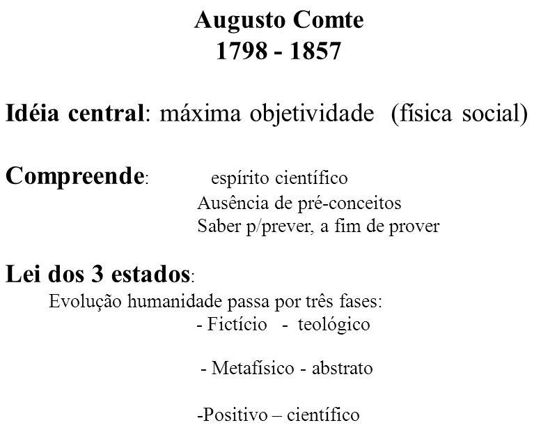 Augusto Comte 1798 - 1857 Idéia central: máxima objetividade (física social) Compreende : espírito científico Ausência de pré-conceitos Saber p/prever