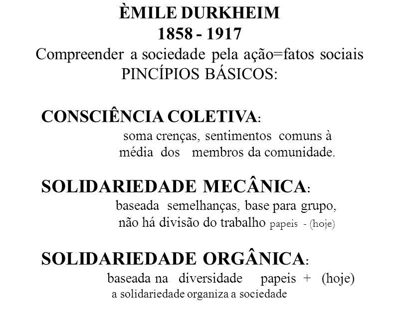 ÈMILE DURKHEIM 1858 - 1917 Compreender a sociedade pela ação=fatos sociais PINCÍPIOS BÁSICOS: CONSCIÊNCIA COLETIVA : soma crenças, sentimentos comuns