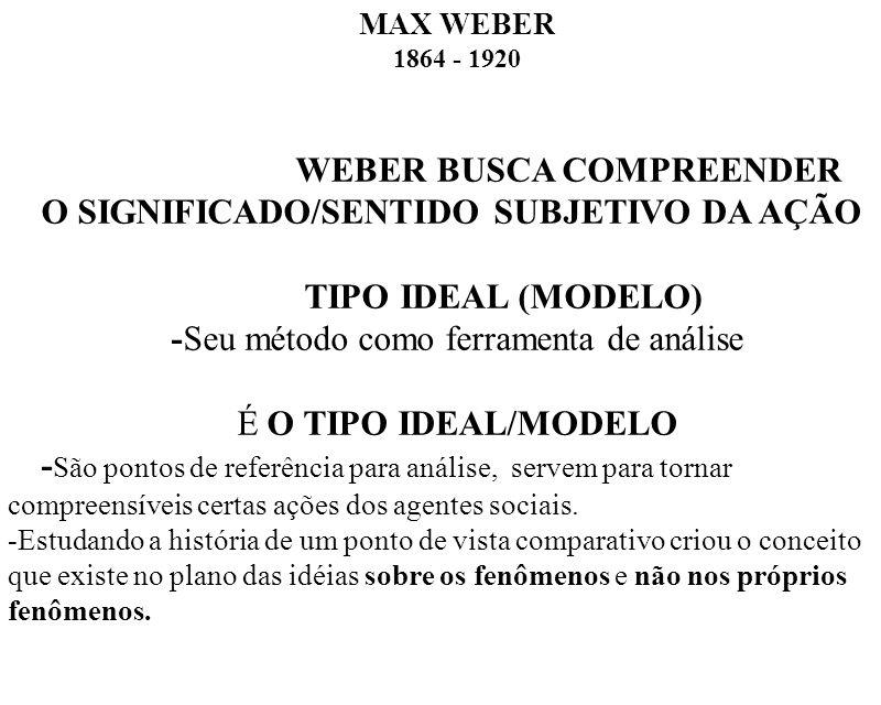 MAX WEBER 1864 - 1920 WEBER BUSCA COMPREENDER O SIGNIFICADO/SENTIDO SUBJETIVO DA AÇÃO TIPO IDEAL (MODELO) -Seu método como ferramenta de análise É O T