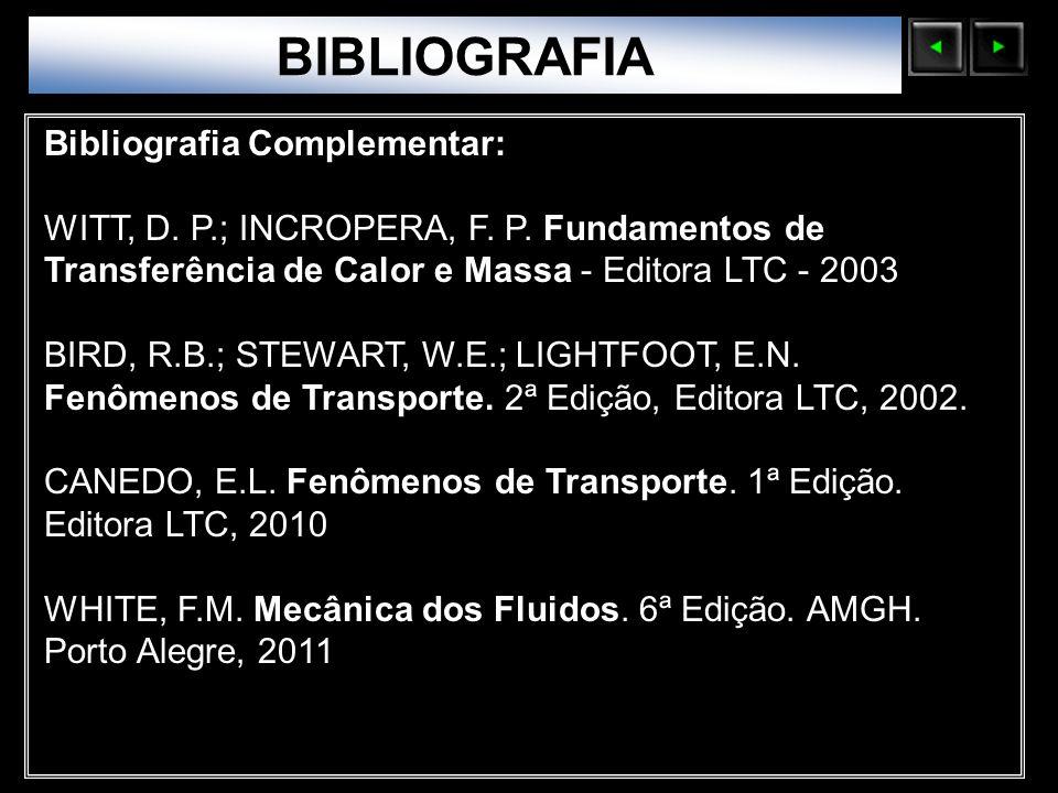 Sólidos Moleculares BIBLIOGRAFIA Bibliografia Complementar: WITT, D. P.; INCROPERA, F. P. Fundamentos de Transferência de Calor e Massa - Editora LTC