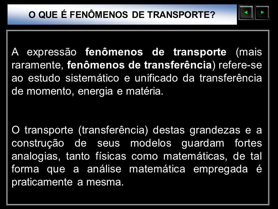 Sólidos Moleculares O QUE É FENÔMENOS DE TRANSPORTE? A expressão fenômenos de transporte (mais raramente, fenômenos de transferência) refere-se ao est