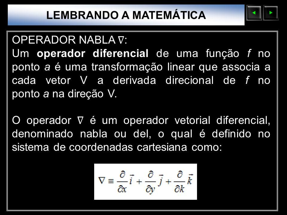 Sólidos Moleculares LEMBRANDO A MATEMÁTICA OPERADOR NABLA : Um operador diferencial de uma função f no ponto a é uma transformação linear que associa