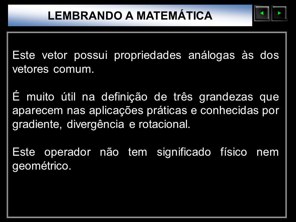Sólidos Moleculares LEMBRANDO A MATEMÁTICA Este vetor possui propriedades análogas às dos vetores comum. É muito útil na definição de três grandezas q