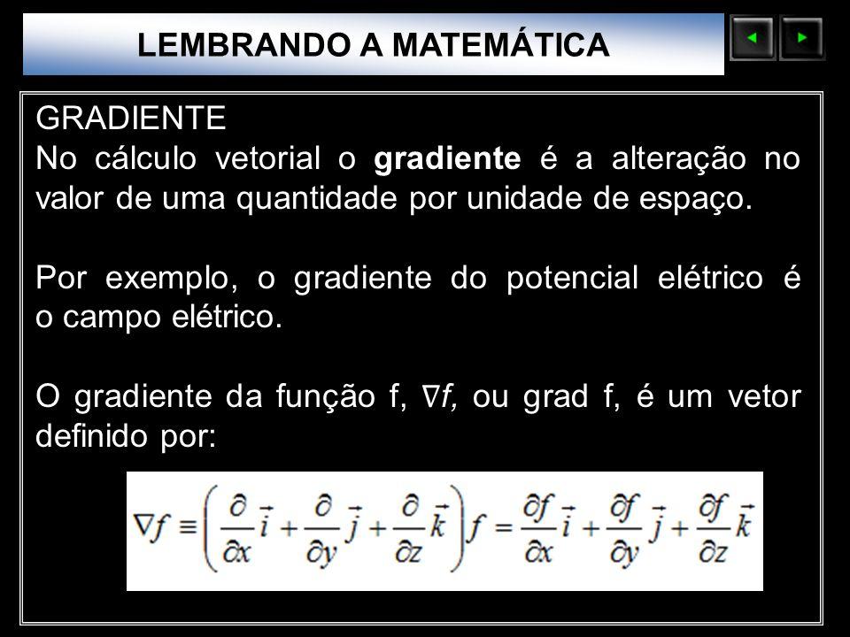 Sólidos Moleculares LEMBRANDO A MATEMÁTICA GRADIENTE No cálculo vetorial o gradiente é a alteração no valor de uma quantidade por unidade de espaço. P