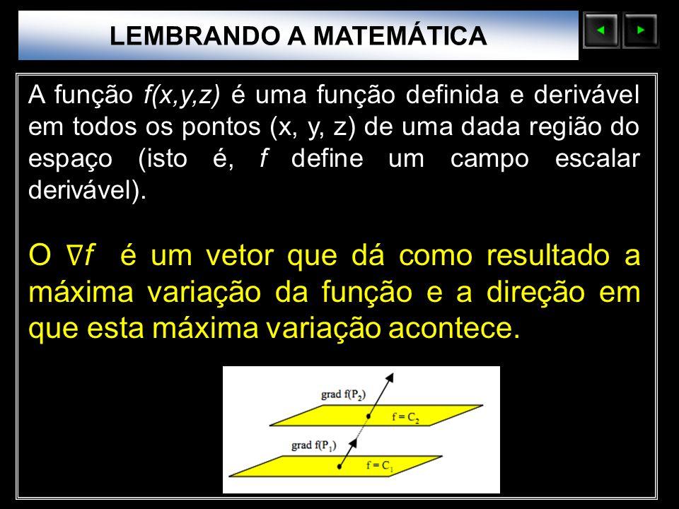 Sólidos Moleculares LEMBRANDO A MATEMÁTICA A função f(x,y,z) é uma função definida e derivável em todos os pontos (x, y, z) de uma dada região do espa