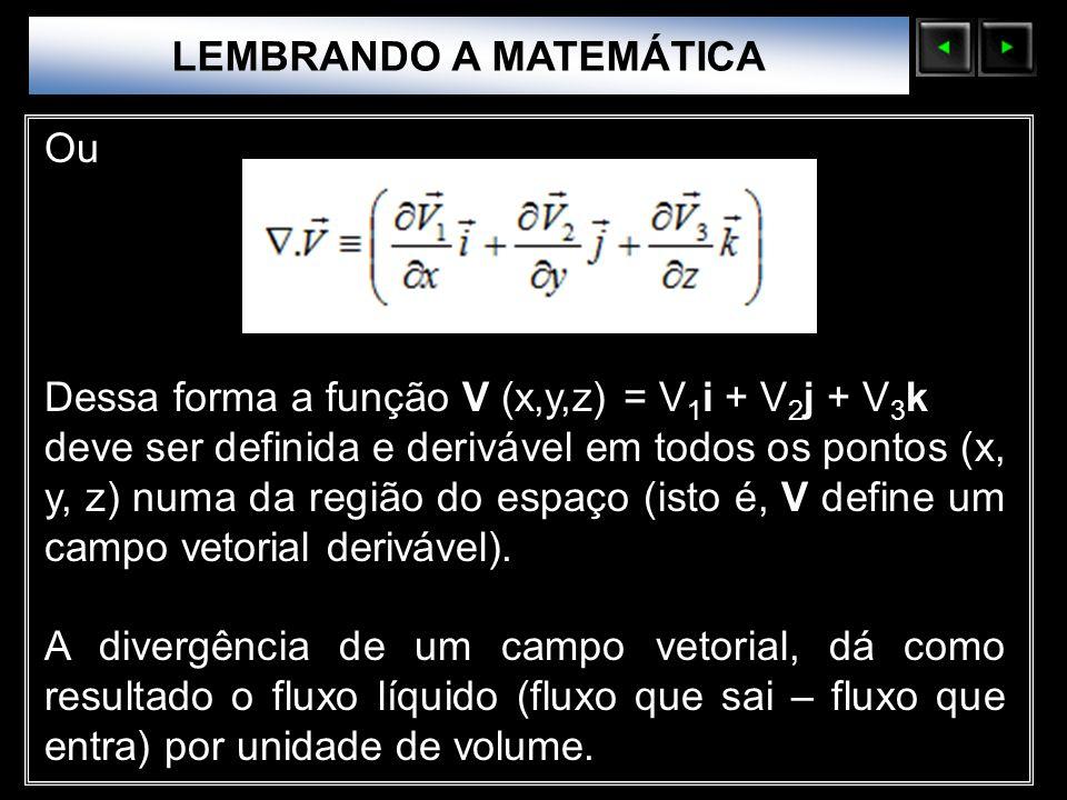 Sólidos Moleculares LEMBRANDO A MATEMÁTICA Ou Dessa forma a função V (x,y,z) = V 1 i + V 2 j + V 3 k deve ser definida e derivável em todos os pontos