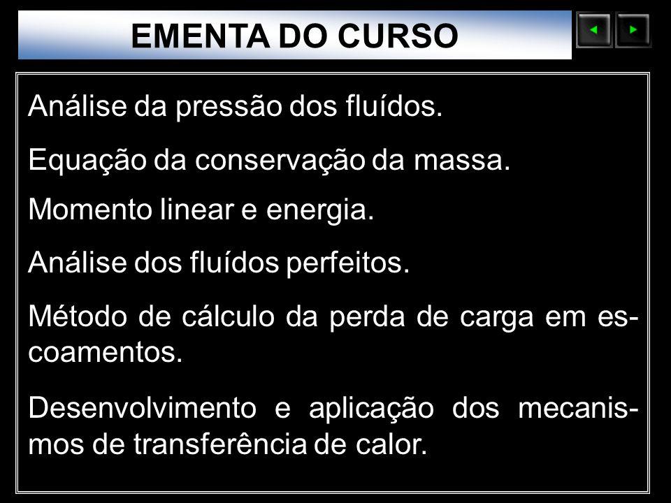 Sólidos Moleculares EMENTA DO CURSO Análise da pressão dos fluídos. Equação da conservação da massa. Momento linear e energia. Análise dos fluídos per
