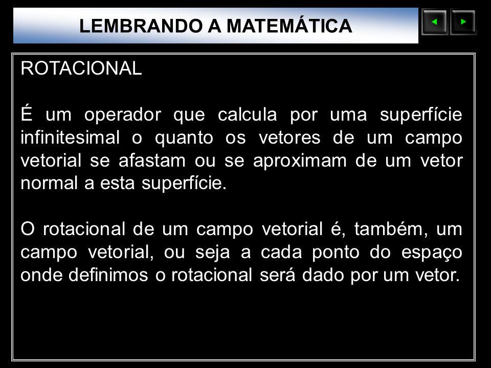 Sólidos Moleculares LEMBRANDO A MATEMÁTICA ROTACIONAL É um operador que calcula por uma superfície infinitesimal o quanto os vetores de um campo vetor