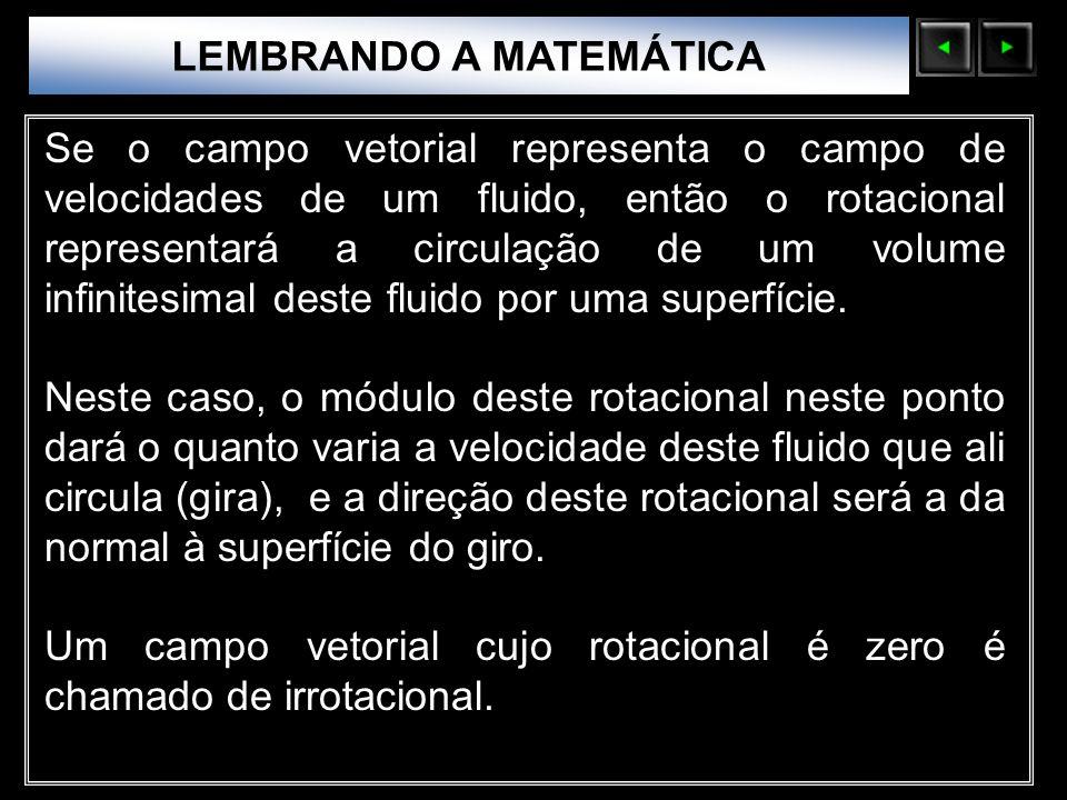 Sólidos Moleculares LEMBRANDO A MATEMÁTICA Se o campo vetorial representa o campo de velocidades de um fluido, então o rotacional representará a circu