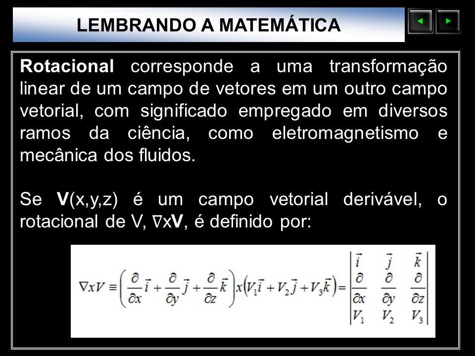Sólidos Moleculares LEMBRANDO A MATEMÁTICA Rotacional corresponde a uma transformação linear de um campo de vetores em um outro campo vetorial, com si