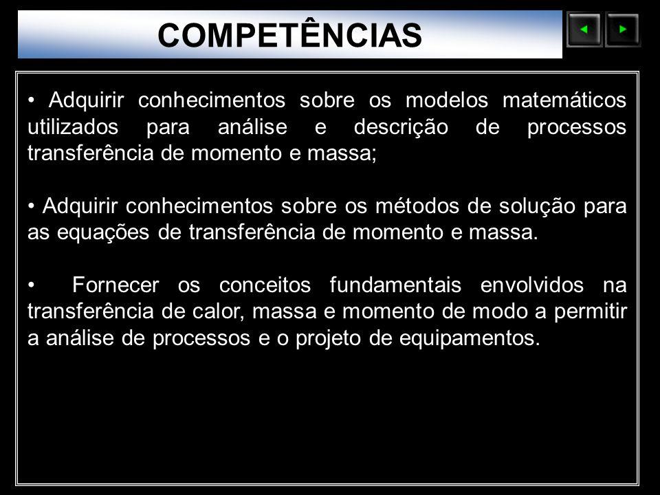 Sólidos Moleculares COMPETÊNCIAS Adquirir conhecimentos sobre os modelos matemáticos utilizados para análise e descrição de processos transferência de