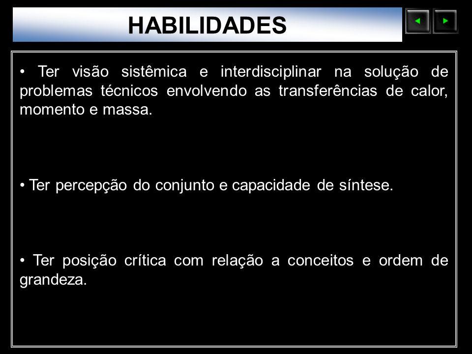 Sólidos Moleculares HABILIDADES Ter visão sistêmica e interdisciplinar na solução de problemas técnicos envolvendo as transferências de calor, momento