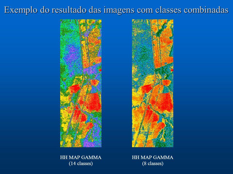 Exemplo do resultado das imagens com classes combinadas HH MAP GAMMA (8 classes) HH MAP GAMMA (14 classes)