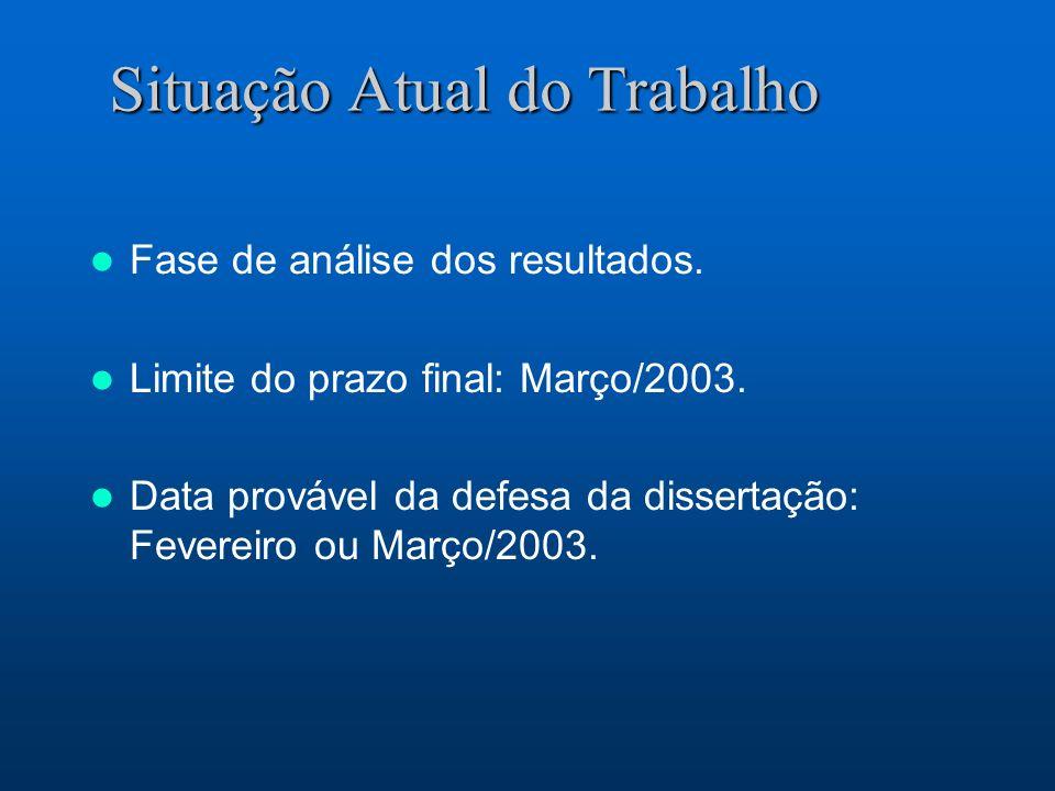 Situação Atual do Trabalho Fase de análise dos resultados. Limite do prazo final: Março/2003. Data provável da defesa da dissertação: Fevereiro ou Mar