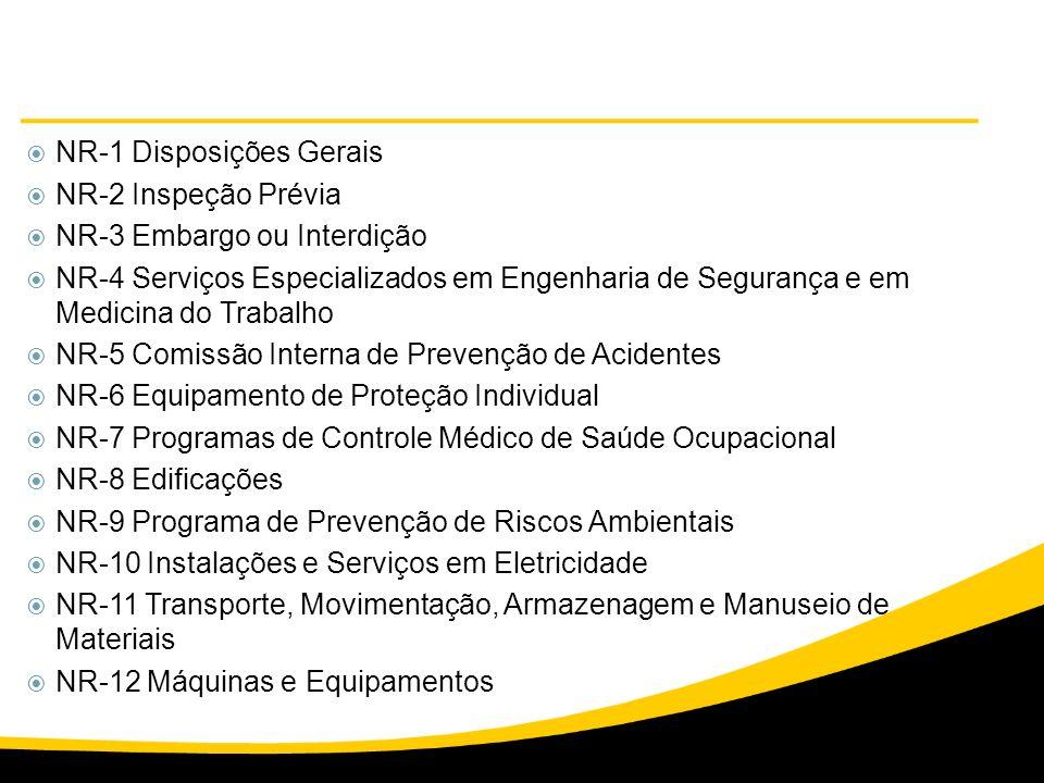 NR-1 Disposições Gerais NR-2 Inspeção Prévia NR-3 Embargo ou Interdição NR-4 Serviços Especializados em Engenharia de Segurança e em Medicina do Traba