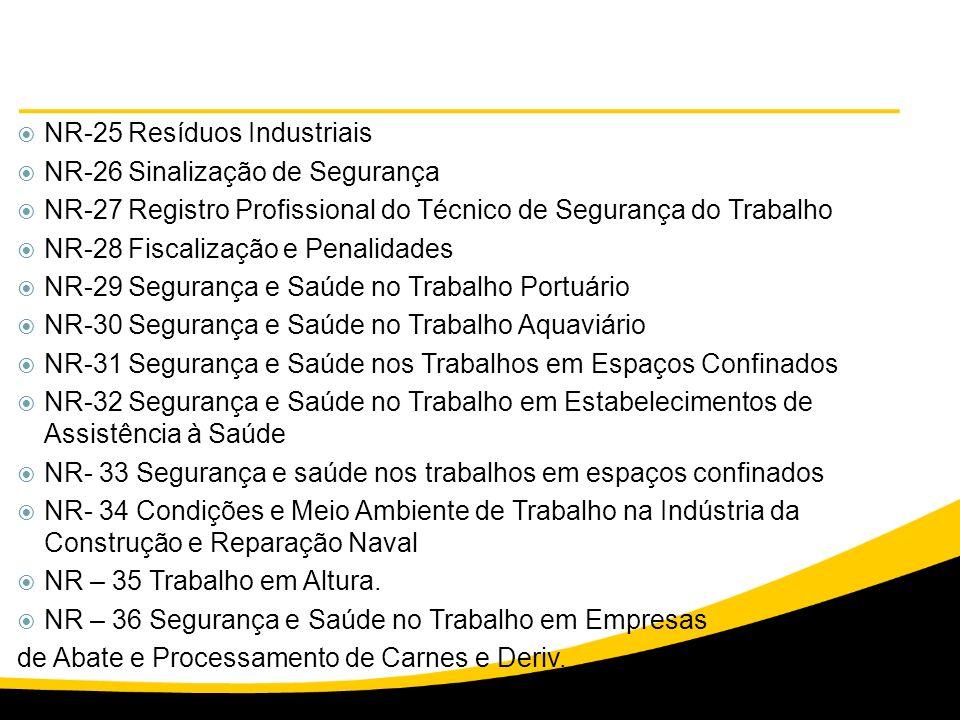 NR-25 Resíduos Industriais NR-26 Sinalização de Segurança NR-27 Registro Profissional do Técnico de Segurança do Trabalho NR-28 Fiscalização e Penalid