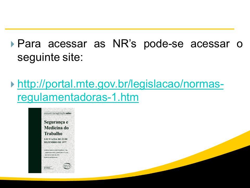 Para acessar as NRs pode-se acessar o seguinte site: http://portal.mte.gov.br/legislacao/normas- regulamentadoras-1.htm http://portal.mte.gov.br/legis