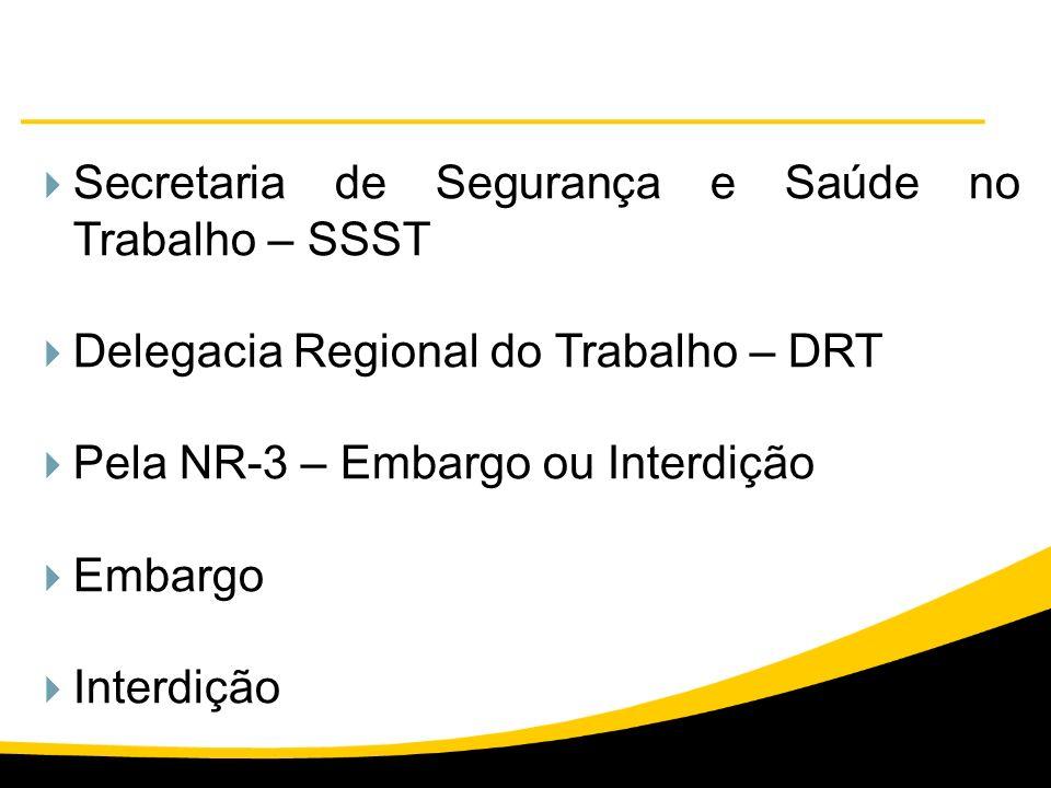 Secretaria de Segurança e Saúde no Trabalho – SSST Delegacia Regional do Trabalho – DRT Pela NR-3 – Embargo ou Interdição Embargo Interdição