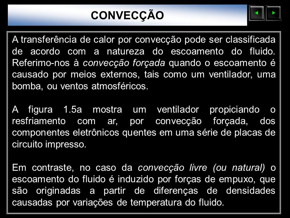 Sólidos Moleculares A transferência de calor por convecção pode ser classificada de acordo com a natureza do escoamento do fluido. Referimo-nos à conv