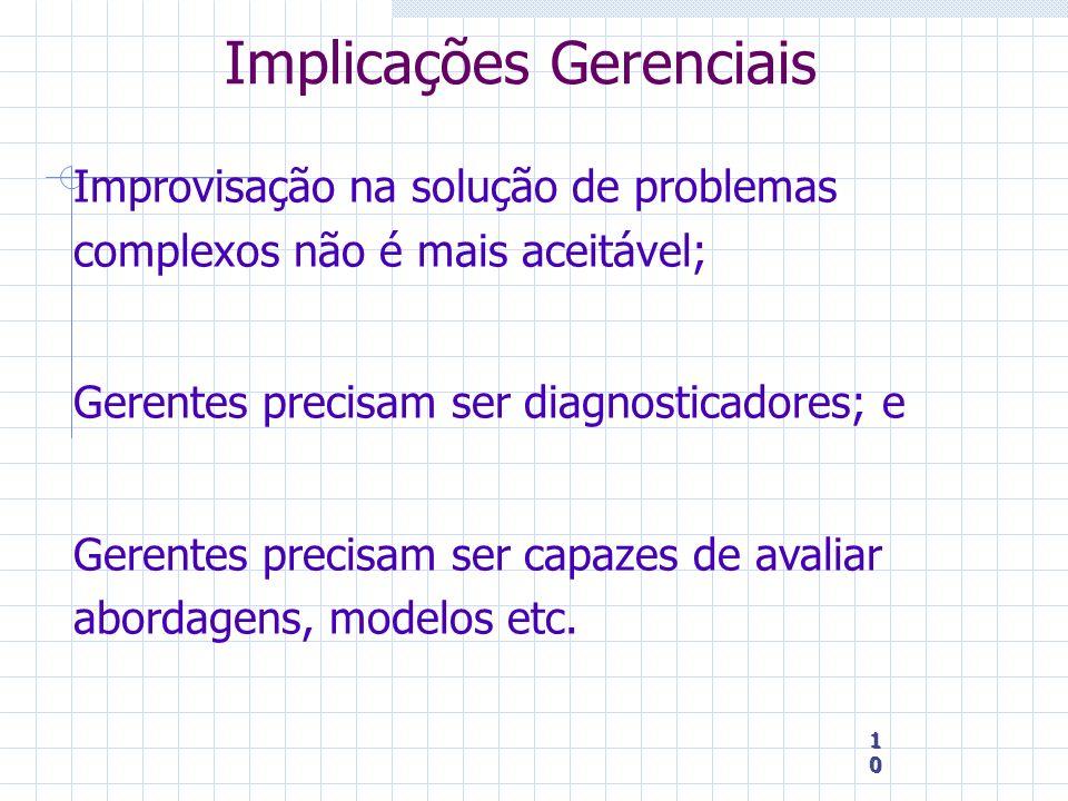 10 10 10 Implicações Gerenciais Improvisação na solução de problemas complexos não é mais aceitável; Gerentes precisam ser diagnosticadores; e Gerente