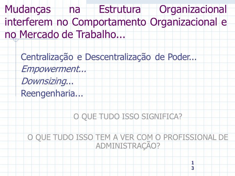 13 13 13 Mudanças na Estrutura Organizacional interferem no Comportamento Organizacional e no Mercado de Trabalho... Centralização e Descentralização