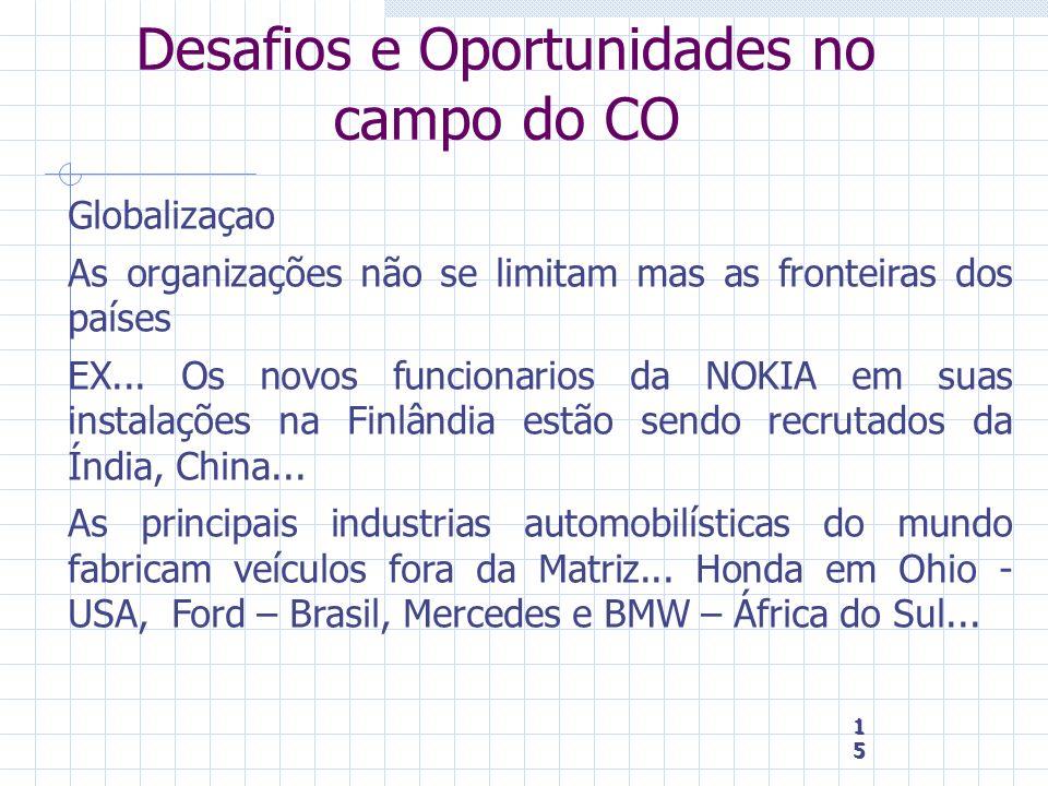 15 15 15 Desafios e Oportunidades no campo do CO Globalizaçao As organizações não se limitam mas as fronteiras dos países EX... Os novos funcionarios