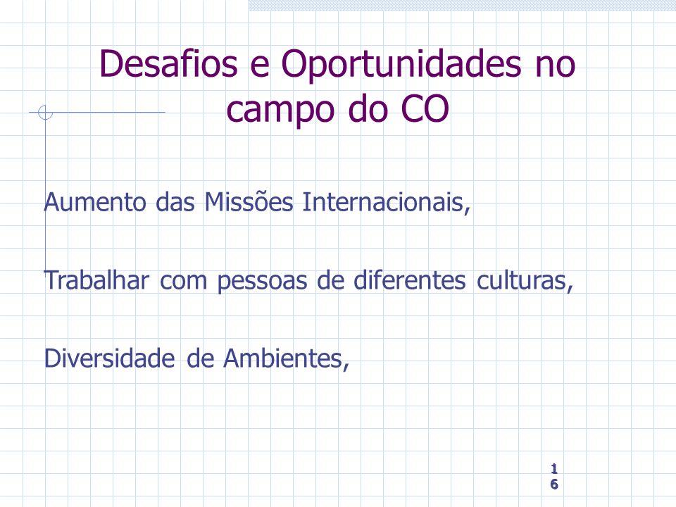 16 16 16 Desafios e Oportunidades no campo do CO Aumento das Missões Internacionais, Trabalhar com pessoas de diferentes culturas, Diversidade de Ambi